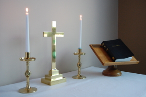 Chapel of the Good Shepherd: altar cross, candles, Bible