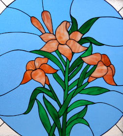 St Matthias Stained Glass Lilies